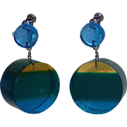 Vendome 1960's Lucite Cylinder Earrings