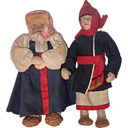 USSR Soviet Stockinette Cloth Mordwa Couple Dolls, Lapti Shoes