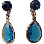 Accessocraft N.Y.C. 1960's Aqua-Sapphire blue Glass Teardrop Earrings