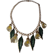 Coro 1940's Adolph Katz Patented Calla Lily Necklace