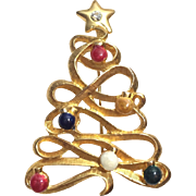 TC Signed Golden Ribbon Christmas Tree Pin