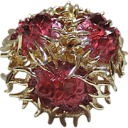 Boucher 1968 Sea Anemone Molded Glass 3D Brooch ~  Pristine condition