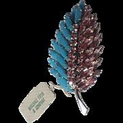 Schreiner 1950's Turquoise Blue Pink Rhinestone Leaf Brooch