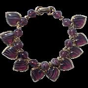 Warner Purple Givre Glass Puffy Heart Charm Bracelet