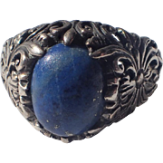 1930's Sterling Lapis Art Nouveau Revival Ring, Size 8.5 US