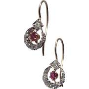 Art Deco Old Mine Diamond, Natural Ruby 14K Gold Earrings