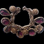 Accessocraft N.Y.C. 1960's Amethyst Purple Glass Charm Bracelet