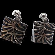 Coro 1960's Modernist Square Drop Earrings, MINT