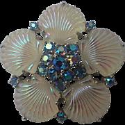 SCARCE Jomaz 1950s Shell Pressed Glass Brooch
