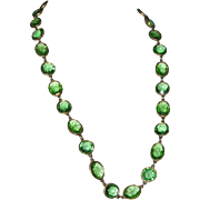Accessocraft N.Y.C. Spring Green Glass Sautoir Necklace 1960's