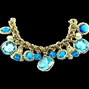SCARCE Accessocraft N.Y.C. 1960's Aquamarine Glass Charm Bracelet