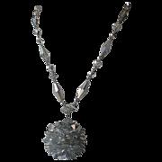 Vendome 1960's Silver Rivoli Crystal Ball Pendant Necklace