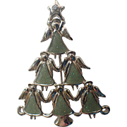Angel Flock Christmas Tree Pin, Book Piece