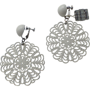 Napier 1960's White Lucite Lace Earrings, Mint with Tag