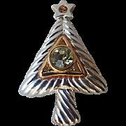 Vero Signed Modernist Christmas Tree Pin, Book Piece