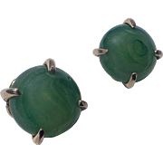 Napier Swirled Jade Glass Earrings, 1960's