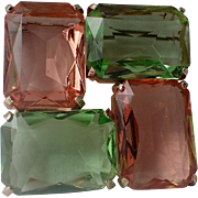 RAREST Cadoro Signed Pink Green Glass Square Modernist Brooch, Book Piece