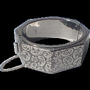 Hobe 1960's Silver Tone Etched Octagon Bangle Bracelet