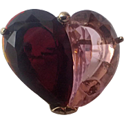 Monet Red Pink Glass Heart Pin