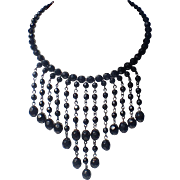 Art Deco French Jet Cascade Bib Necklace