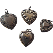 Vintage 1940's Sterling Silver Puffy Heart Charms/Pendants