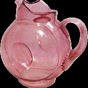 """Victorian Iridescent Cranberry Hand Blown Art Glass Pitcher, 8.25"""" Tall"""
