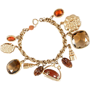 Accessocraft NYC 1960's Egyptian Revival Glass Charm Bracelet