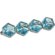 Art Deco Aquamarine Glass Hexagon Bar Brooch