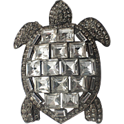 SCARCE Whiteside & Black Sea Turtle Brooch