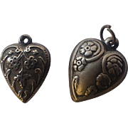 Antique Art Nouveau Puffy Heart Sterling Silver Charm, Floral