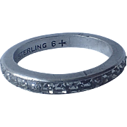 Trifari Sterling Silver Eternity Clear Baguette Ring, Size 6.5
