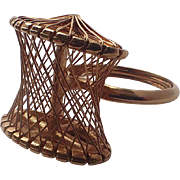 Hobé 1960's Suspension Bridge Wired Gold Plate Cocktail Ring, Size 7-7.5