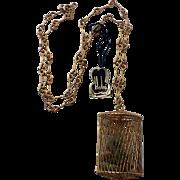 Hobé 1960's Suspension Bridge Wired Gold Plate Pendant Necklace, Original Tag, Mint