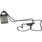 Trifari Sterling and Lucite Padlock Letter F Pendant Necklace