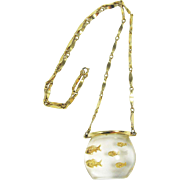 Castlecliff Fish Bowl Clear Lucite Pendant Necklace, Book Piece
