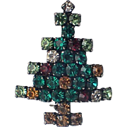 Austria Rhinestone Crystal Christmas Tree Pin, Book Piece