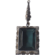 Art Deco JJ Hartman Sterling Silver Teal Glass Pendant