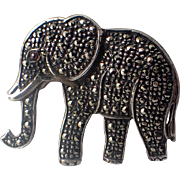 Vintage Elephant Sterling Silver Marcasite Brooch 1940s