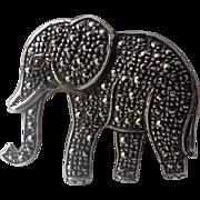 Vintage Elephant Sterling Silver Marcasite Brooch 1940s