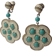 Castlecliff 1960's Turquoise Glass, White Enamel Earrings