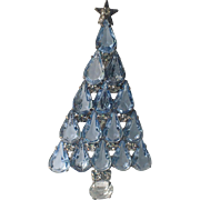 Blue Tear Drop Glass & Rhinestone Christmas Tree Pin