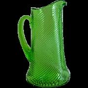 Federal Glass Diana Corded Optic Twist Vaseline Glass Pitcher