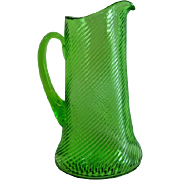 Federal Glass Diana Corded Optic Twist Vaseline Glass Pitcher