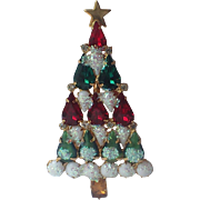 Snow Glitter Glass Rhinestone Christmas Tree Pin