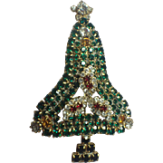 Elaborate Vintage 1980's Rhinestone Christmas Tree Pin