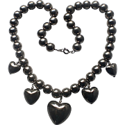 Puffy Heart Sterling Silver Bead Necklace 1970s