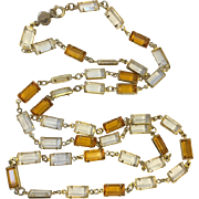 Accessocraft NYC 1960's Clear Amber Glass Sautoir Necklace