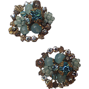 DeMario 1950's Floral Art Glass Rhinestone Earrings