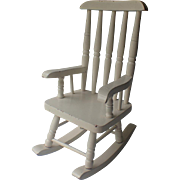 Vintage Rocking Chair White, for Doll Display