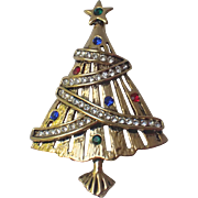 Rhinestone Garland Christmas Tree Pin